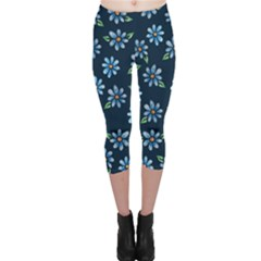 Retro Blue Daisy Flowers Pattern Capri Leggings