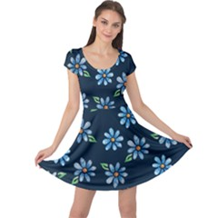 Retro Blue Daisy Flowers Pattern Cap Sleeve Dresses