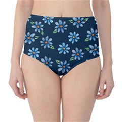 Retro Blue Daisy Flowers Pattern High Waist Bikini Bottoms