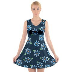 Retro Blue Daisy Flowers Pattern V-Neck Sleeveless Skater Dress