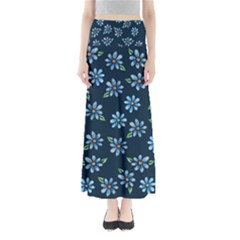 Retro Blue Daisy Flowers Pattern Maxi Skirts