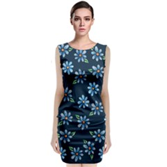 Retro Blue Daisy Flowers Pattern Classic Sleeveless Midi Dress