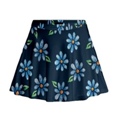 Retro Blue Daisy Flowers Pattern Mini Flare Skirt