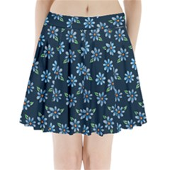 Retro Blue Daisy Flowers Pattern Pleated Mini Skirt