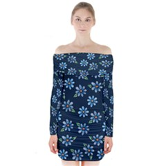 Retro Blue Daisy Flowers Pattern Long Sleeve Off Shoulder Dress