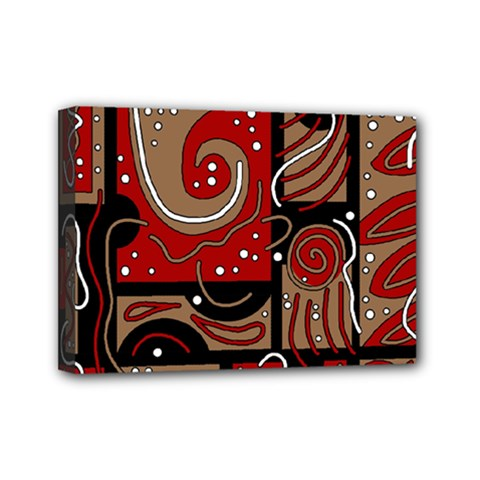 Red and brown abstraction Mini Canvas 7  x 5