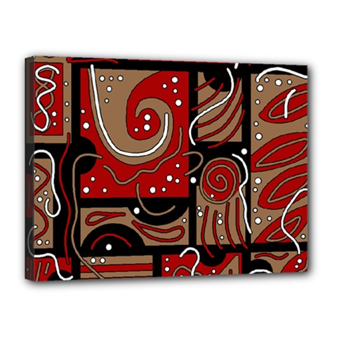 Red and brown abstraction Canvas 16  x 12