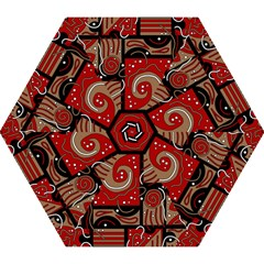 Red and brown abstraction Mini Folding Umbrellas