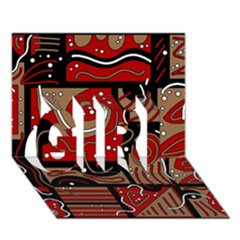 Red and brown abstraction GIRL 3D Greeting Card (7x5)
