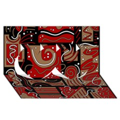Red and brown abstraction Twin Hearts 3D Greeting Card (8x4)