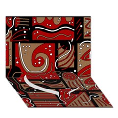 Red and brown abstraction Heart Bottom 3D Greeting Card (7x5)