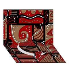 Red and brown abstraction Circle Bottom 3D Greeting Card (7x5)