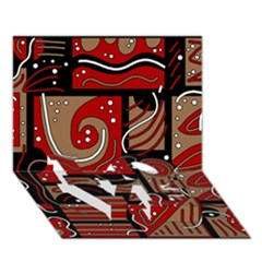 Red and brown abstraction LOVE Bottom 3D Greeting Card (7x5)