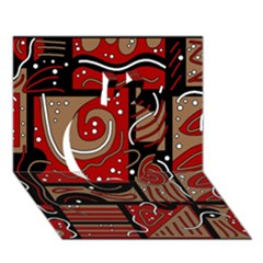 Red and brown abstraction Apple 3D Greeting Card (7x5)