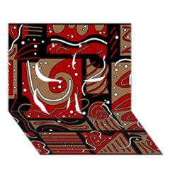 Red and brown abstraction Clover 3D Greeting Card (7x5)
