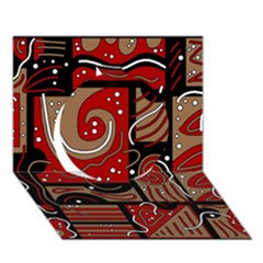 Red and brown abstraction Circle 3D Greeting Card (7x5)