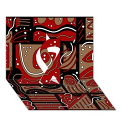 Red and brown abstraction Ribbon 3D Greeting Card (7x5)