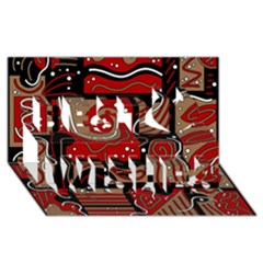Red and brown abstraction Best Wish 3D Greeting Card (8x4)