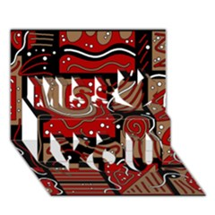 Red and brown abstraction Miss You 3D Greeting Card (7x5)