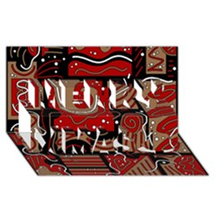Red and brown abstraction Merry Xmas 3D Greeting Card (8x4)