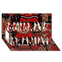 Red and brown abstraction Congrats Graduate 3D Greeting Card (8x4)
