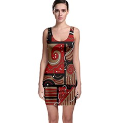 Red and brown abstraction Sleeveless Bodycon Dress