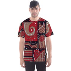 Red and brown abstraction Men s Sport Mesh Tee