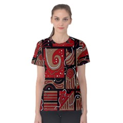 Red and brown abstraction Women s Cotton Tee