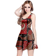 Red and brown abstraction Reversible Sleeveless Dress