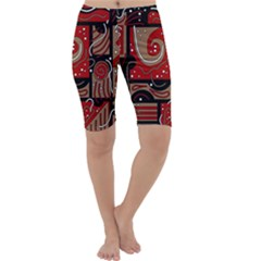 Red and brown abstraction Cropped Leggings