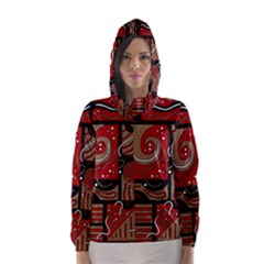 Red and brown abstraction Hooded Wind Breaker (Women)