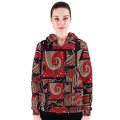 Red and brown abstraction Women s Zipper Hoodie