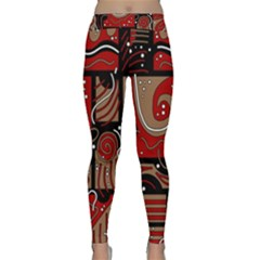 Red and brown abstraction Yoga Leggings