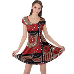 Red and brown abstraction Cap Sleeve Dresses