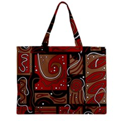 Red and brown abstraction Zipper Mini Tote Bag