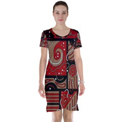 Red and brown abstraction Short Sleeve Nightdress