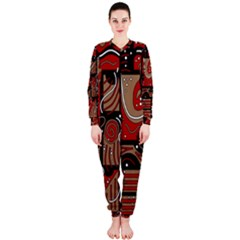 Red and brown abstraction OnePiece Jumpsuit (Ladies)