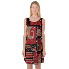Red and brown abstraction Sleeveless Satin Nightdress