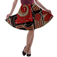Red and brown abstraction A-line Skater Skirt