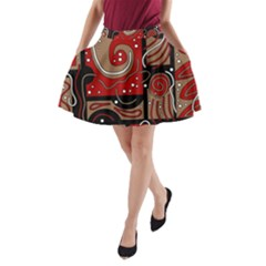 Red and brown abstraction A-Line Pocket Skirt