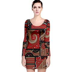 Red and brown abstraction Long Sleeve Velvet Bodycon Dress