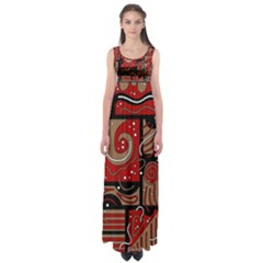 Red And Brown Abstraction Empire Waist Maxi Dress