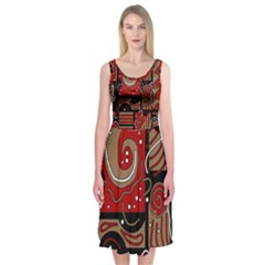 Red and brown abstraction Midi Sleeveless Dress