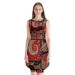 Red And Brown Abstraction Sleeveless Chiffon Dress