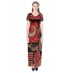 Red and brown abstraction Short Sleeve Maxi Dress