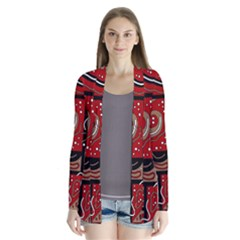 Red and brown abstraction Drape Collar Cardigan