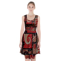 Red and brown abstraction Racerback Midi Dress