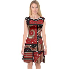 Red And Brown Abstraction Capsleeve Midi Dress
