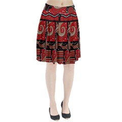 Red And Brown Abstraction Pleated Skirt