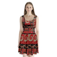 Red and brown abstraction Split Back Mini Dress